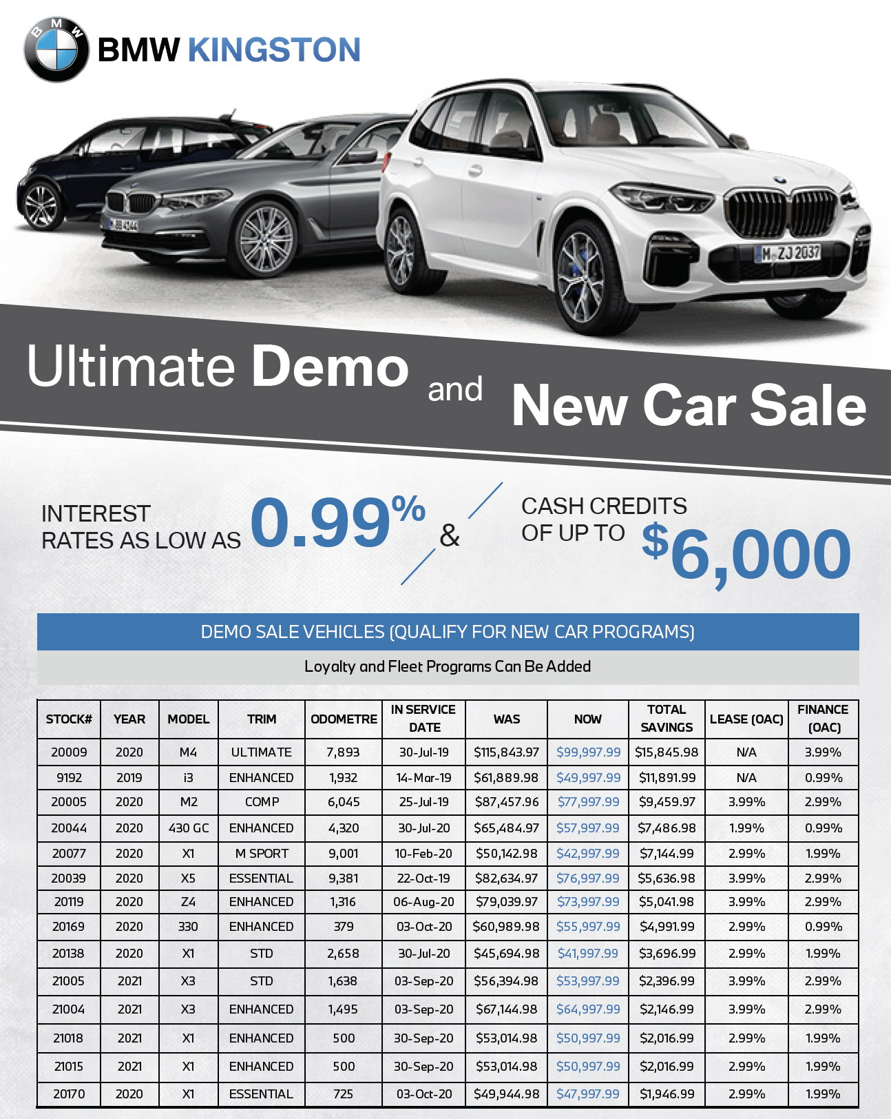 BMW DEMO SALE